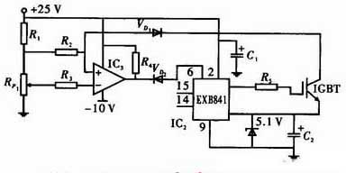 Circuit protection design for detecting Vce current of IGBT